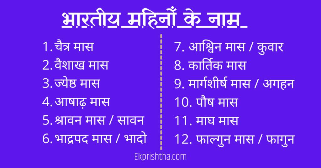 Hindu Months Name in Hindi